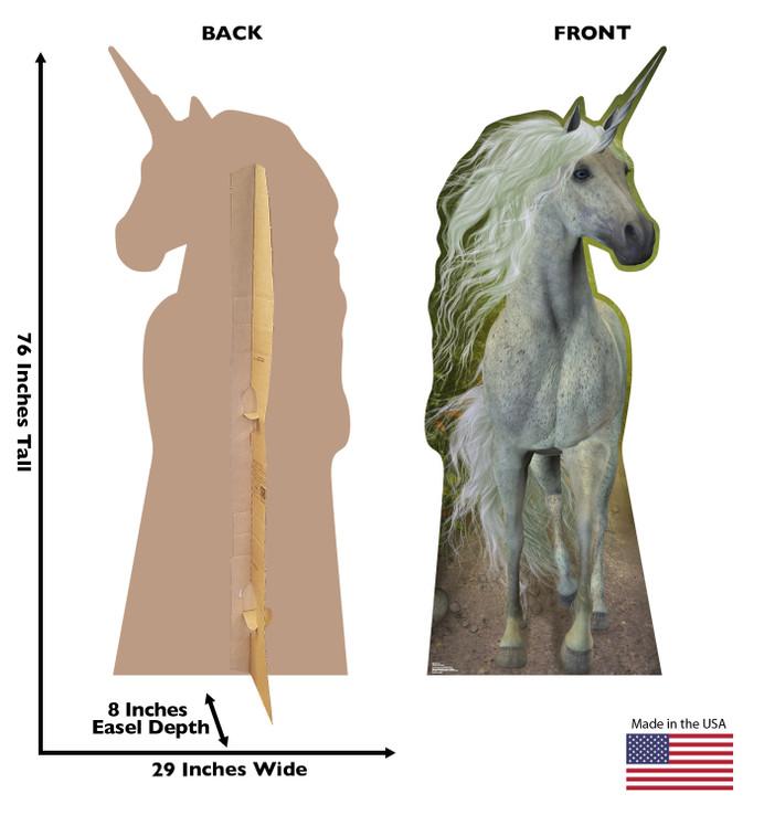 Unicorn Lifesize Cardboard Cutout with Dimensions