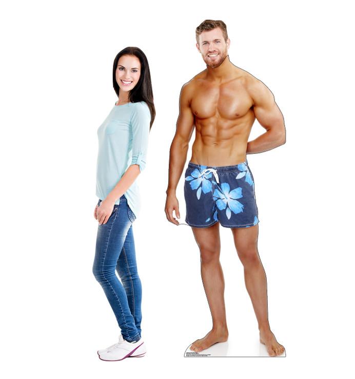 Beach Muscle Man Standin Lifesize Cardboard Cutout