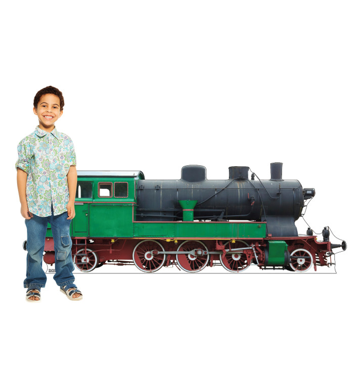 Green and Red Steam Train Lifesize Cardboard Cutout with Model