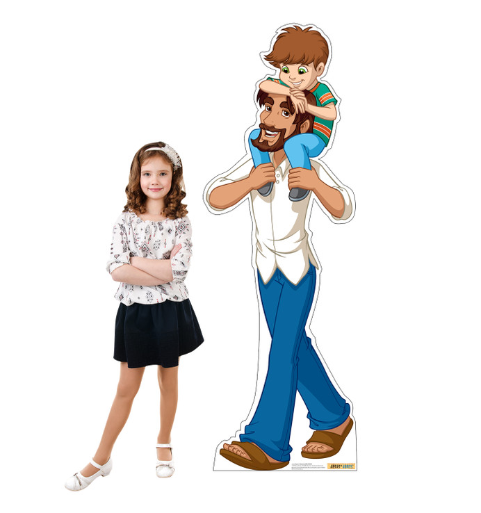 Jesus in Jeans with Child Lifesize Cardboard Cutoutwith Model