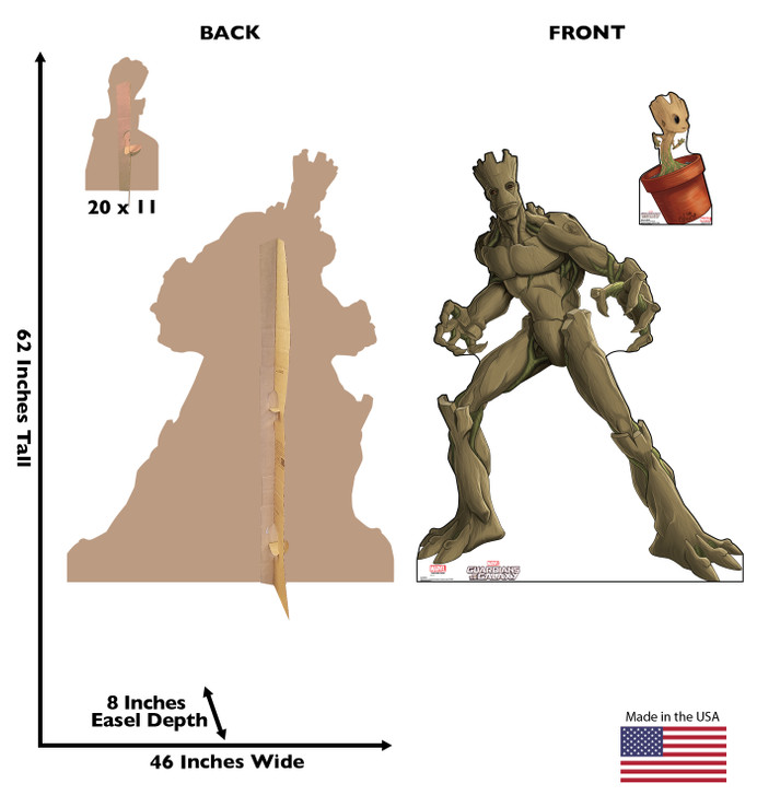 Groot & Little Groot - Guardians of the Galaxy - Animated Lifesize Cardboard Cutout Dimensions