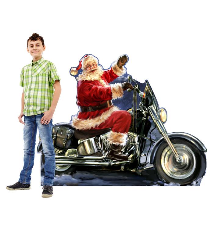 Santa riding a Motorcycle - Dona Gelsinger Art Lifesize Cardboard Cutout