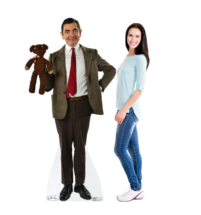 Mr. Bean and Teddy Lifesize Cardboard Cutout with Model