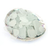 White Sea Glass in Abalone Shell