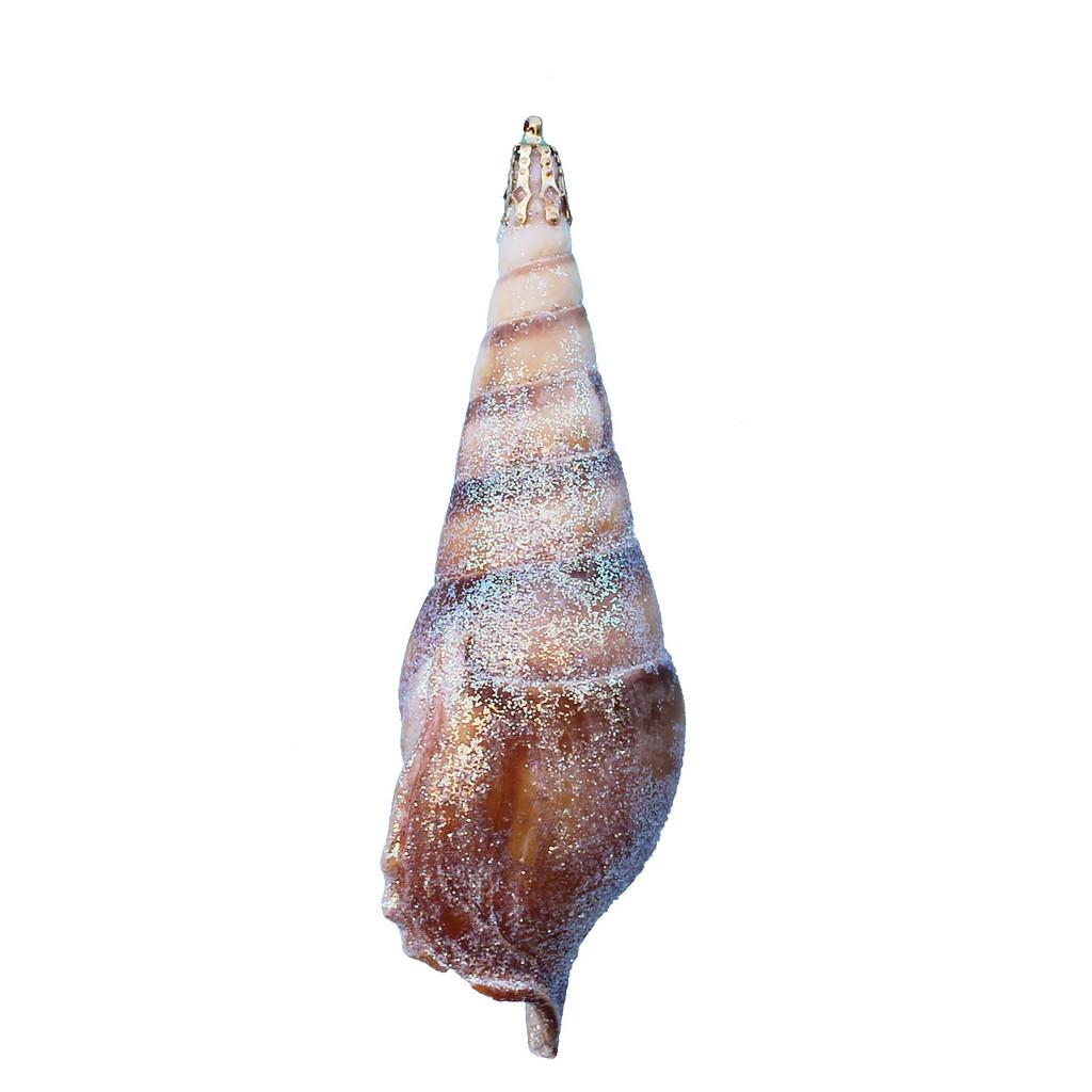 Small Brown Tibia Shell Glitter Ornament