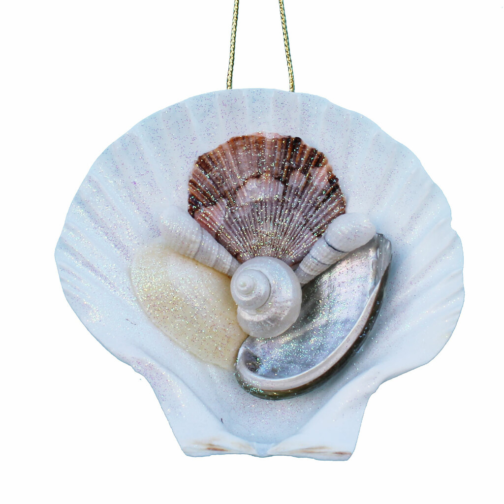 Hand-Crafted Irish Scallop Shell Collage Ornament