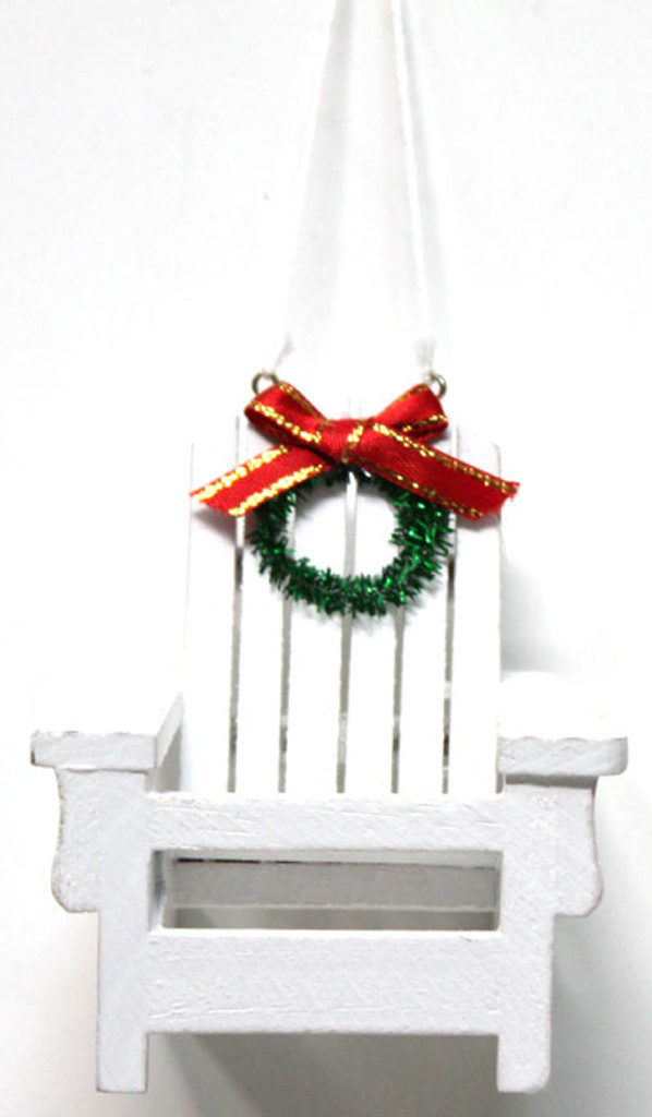 White Wood Adirondack Beach Chair Ornament