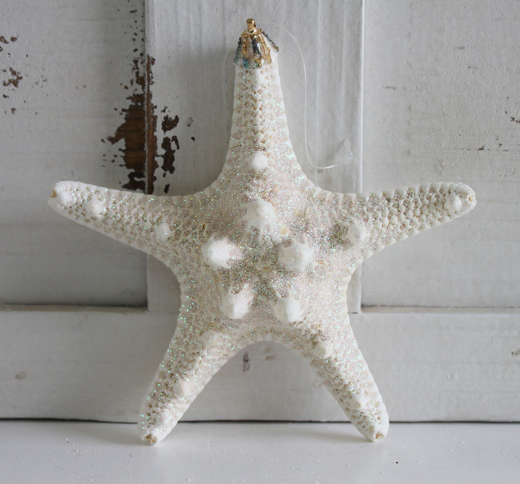 Large White Bumpy Starfish Glitter Ornament - Made in Huntington Beach, California, USA