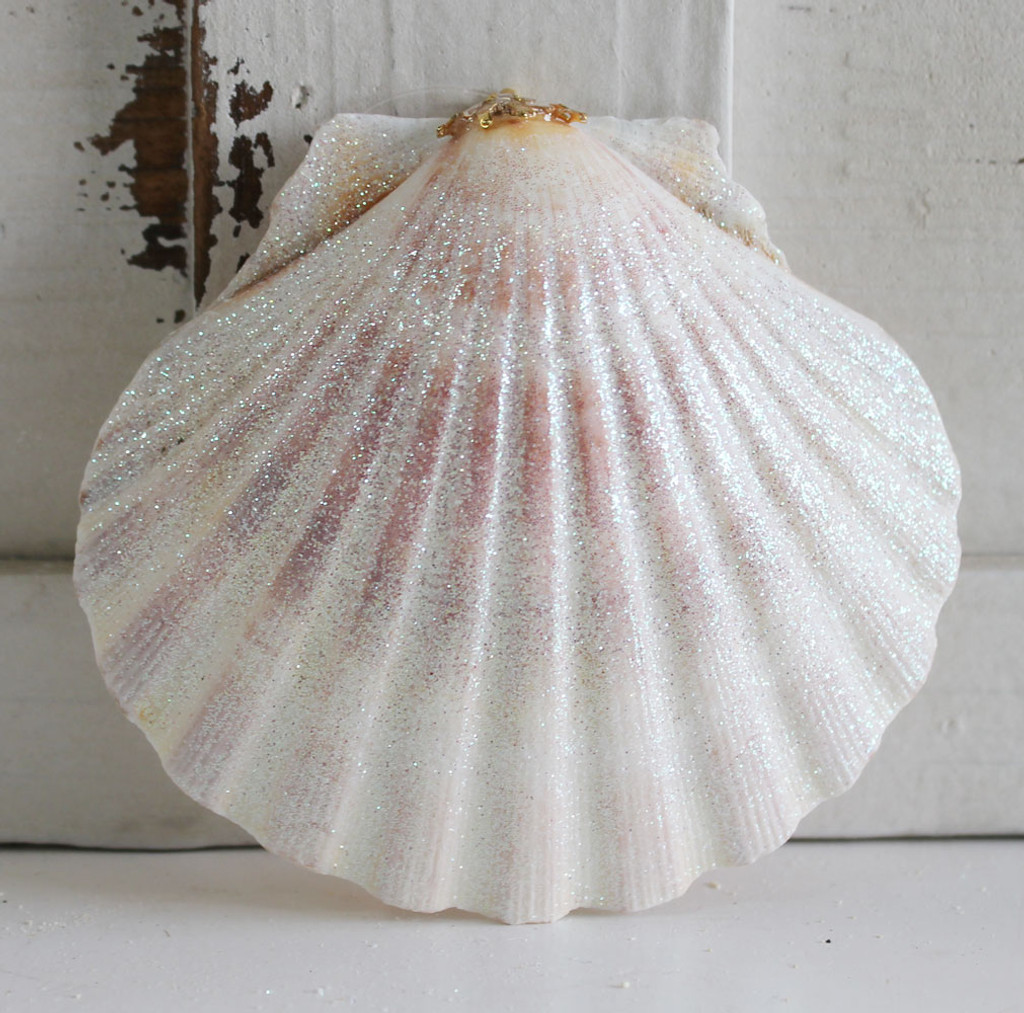 Large Scallop Shell Glitter Ornament