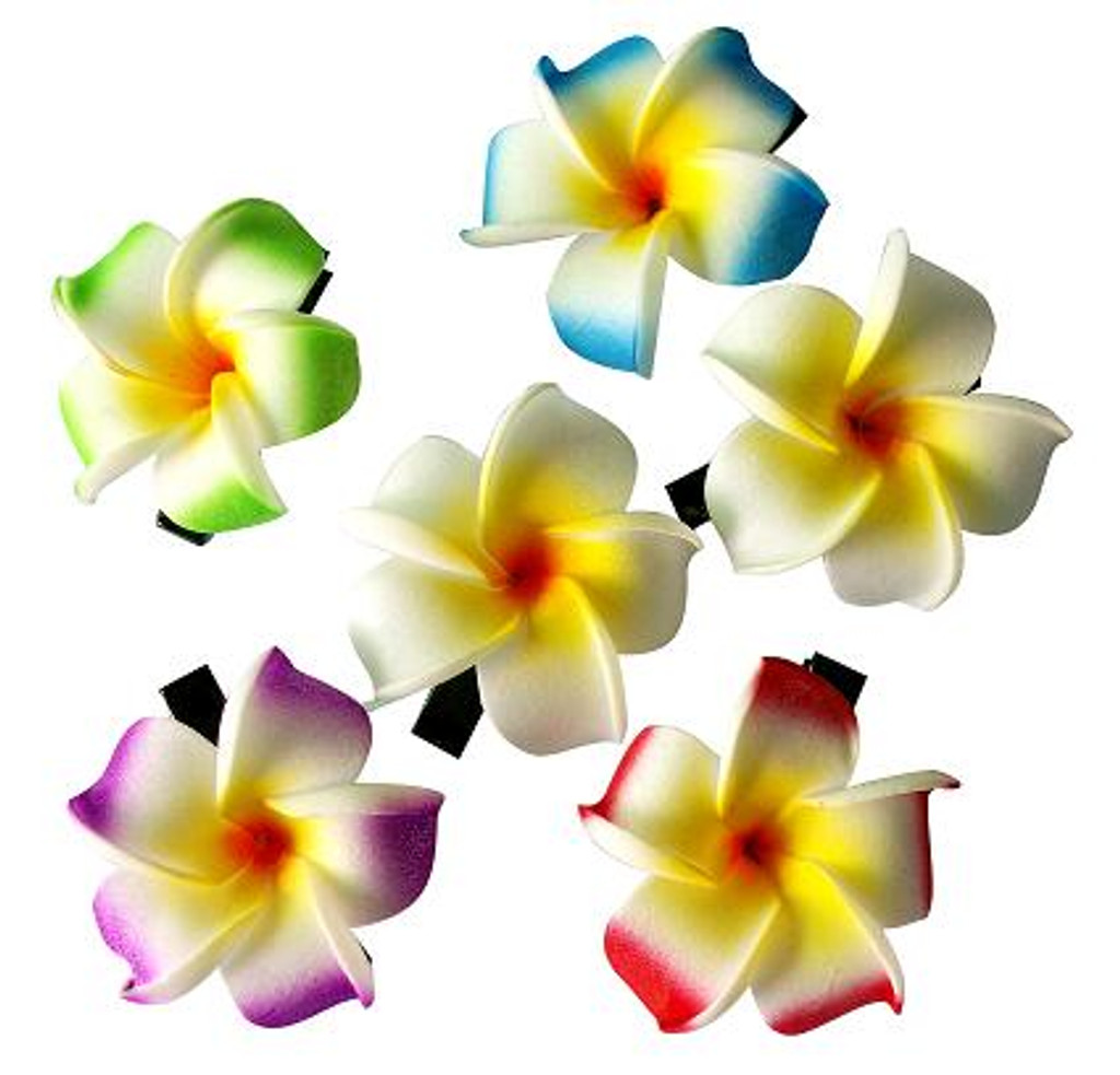Small Plumeria Hair Clips - 1 dozen pairs