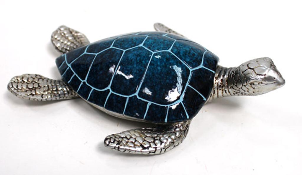 Large Blue & Silver Turtle Figurine