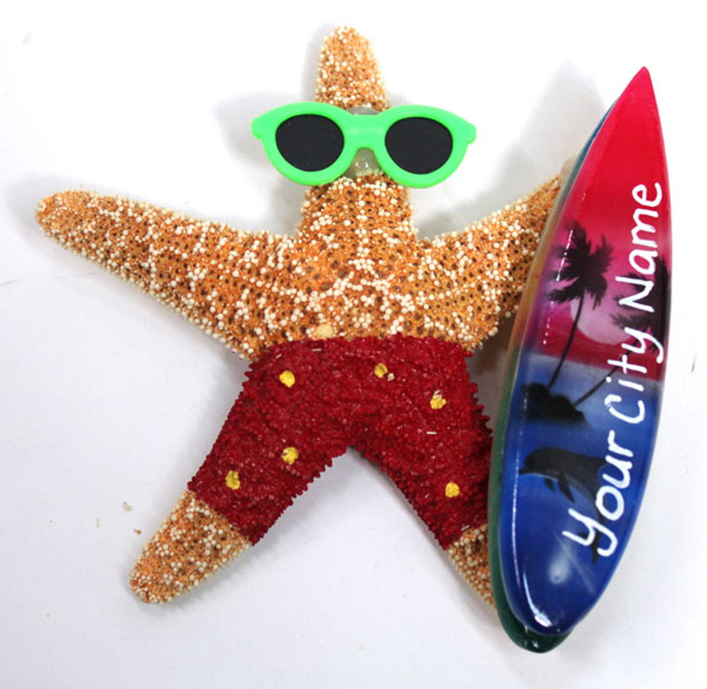 Surfer Boy Starfish Magnet with Red Shorts