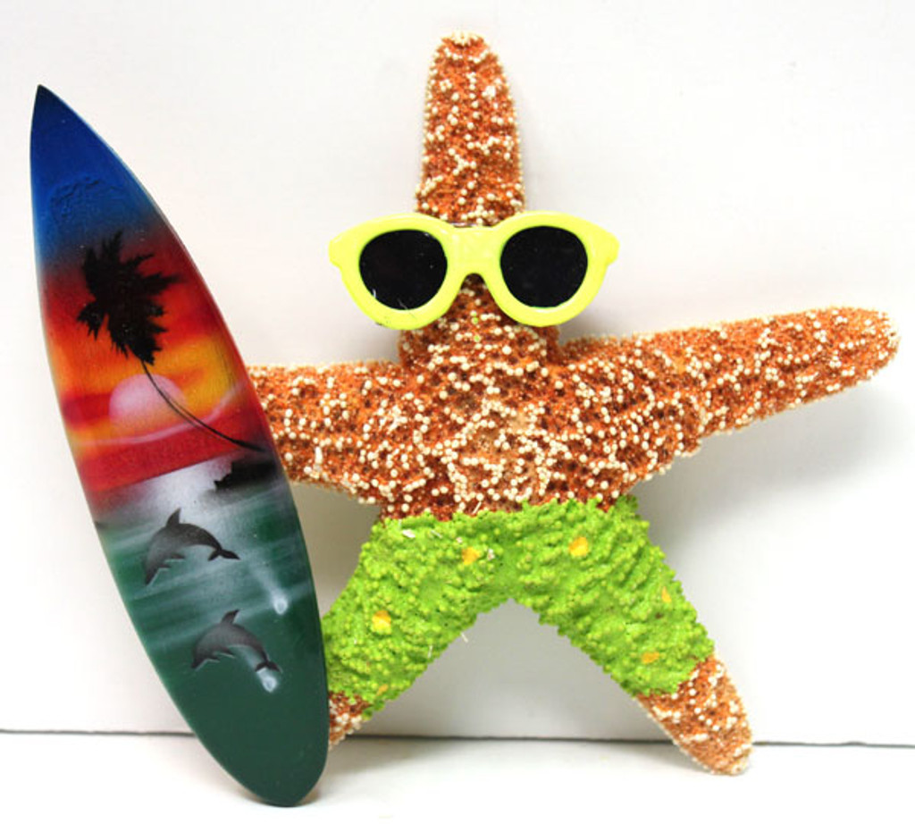 Surfer Boy Starfish Magnet with Green Shorts