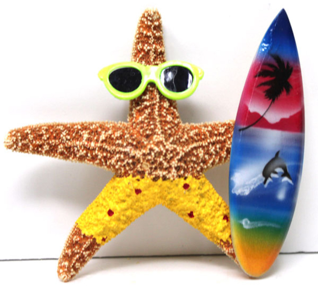 Surfer Boy Starfish Magnet with Yellow Shorts