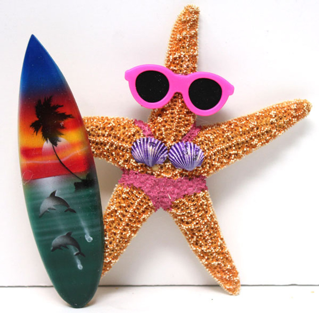 Surfer Girl Starfish Magnet with Pink Bikini & Surfboard