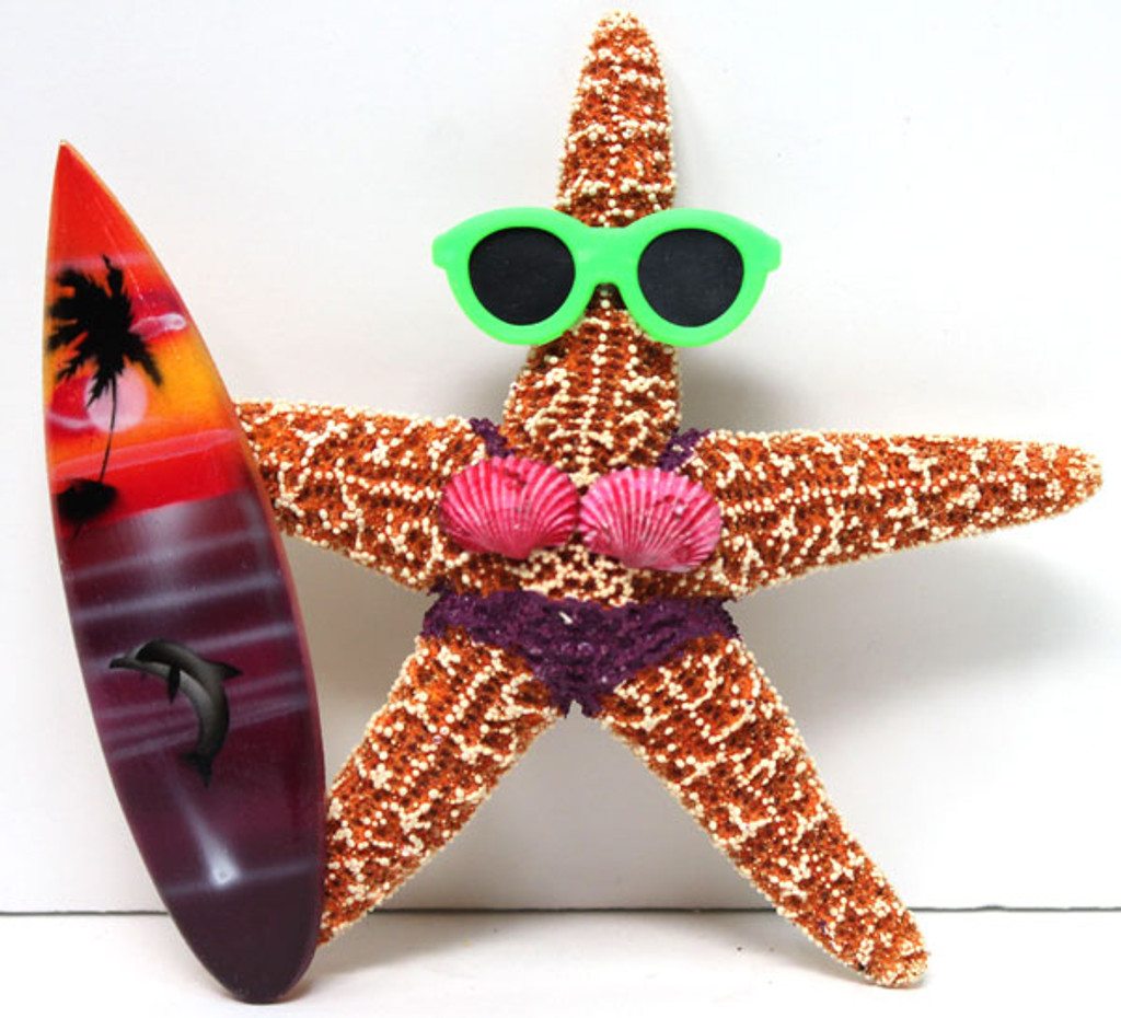 Surfer Girl Starfish Magnet with Purple Bikini & Surfboard