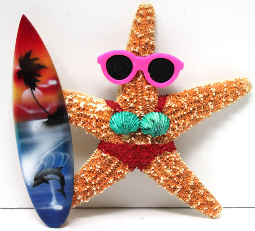 Surfer Girl Starfish Magnet with Red Bikini & Surfboard