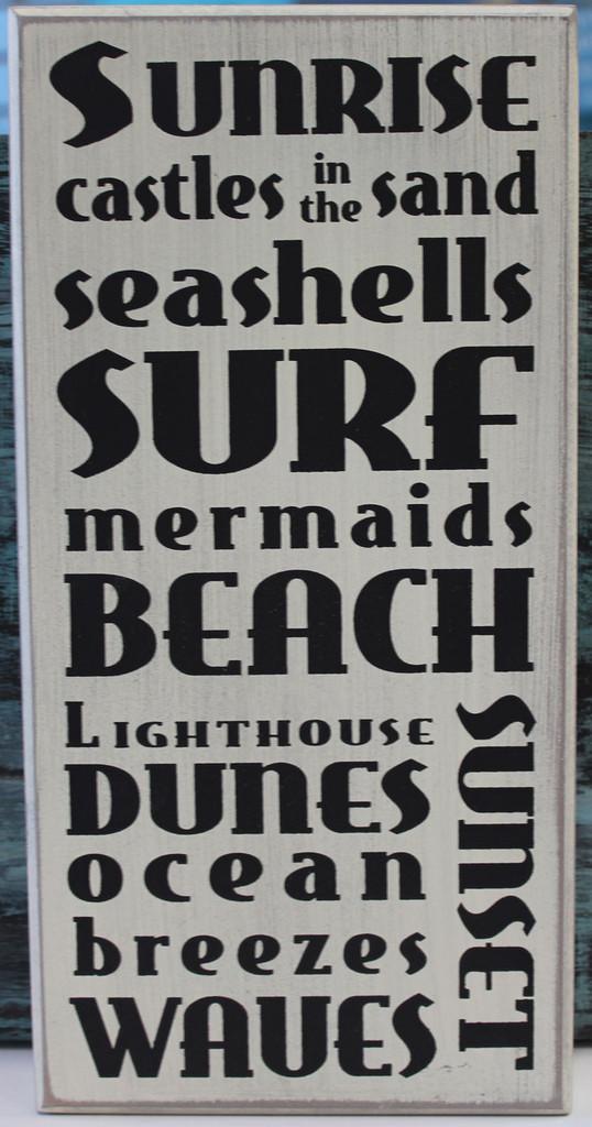 Sunrise, Castles in the sand, Seashells, Surf, Mermaids, Beach, Lighthouse, Dunes, Ocean Breezes, Waves, Sunset