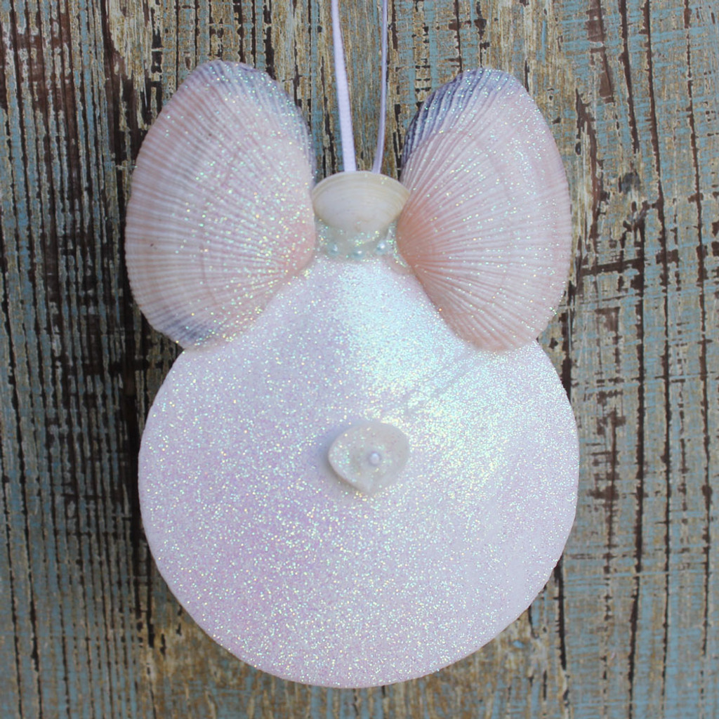 White Sun Moon Angel with Peach Wings Ornament