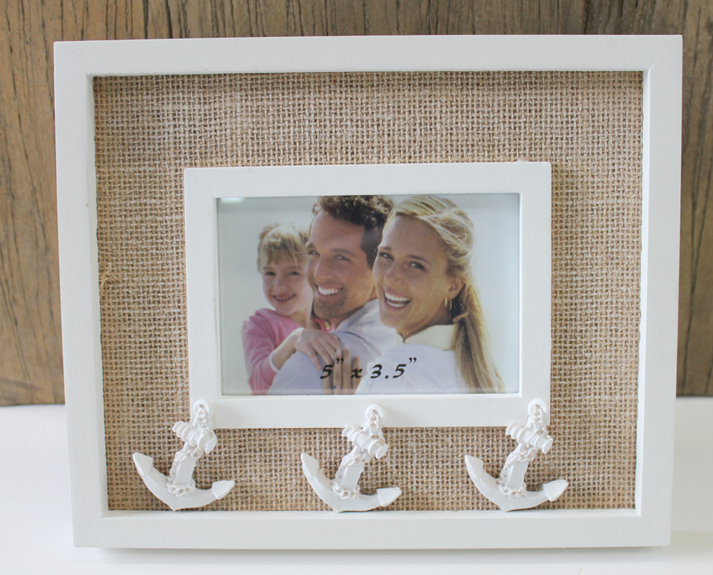White Anchor 35 X 5 Picture Frame Nautical Frames Albums