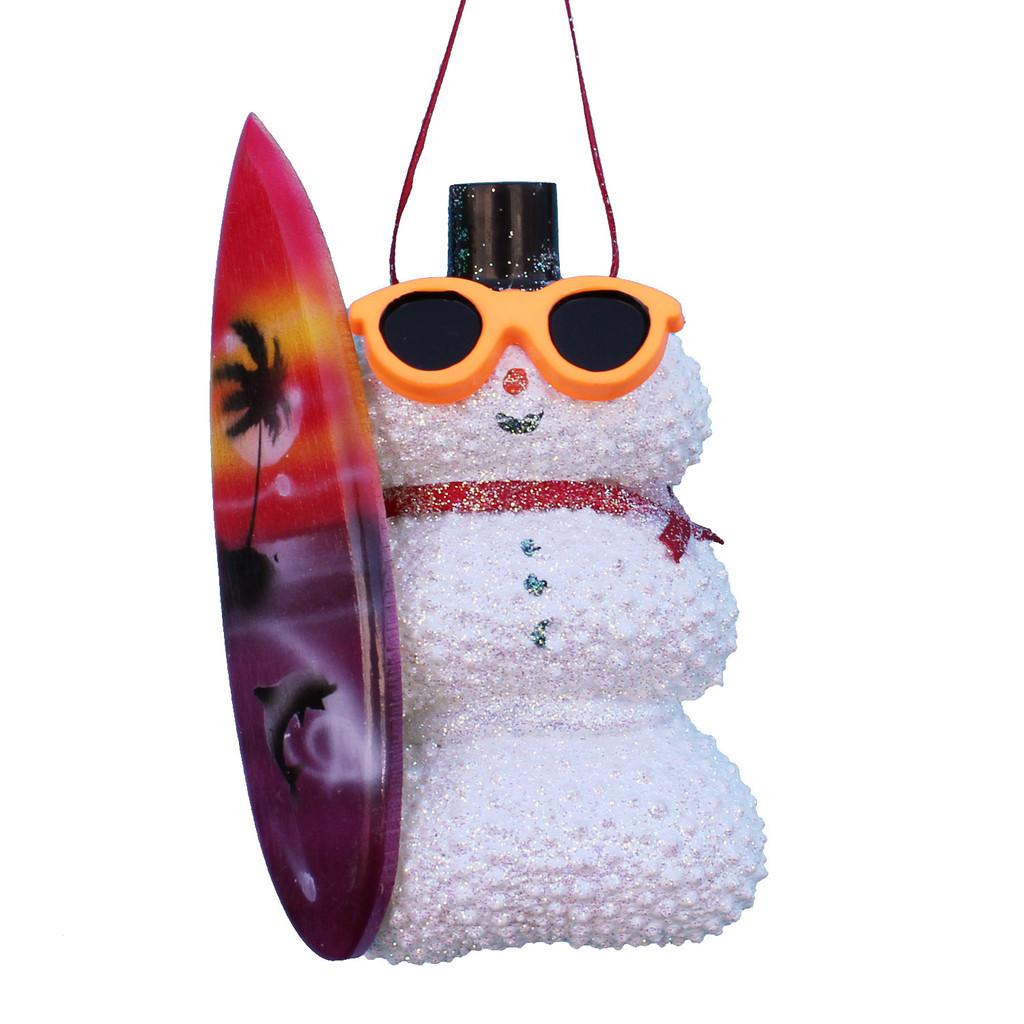 Surfer White Sea Urchin Snowman Ornament