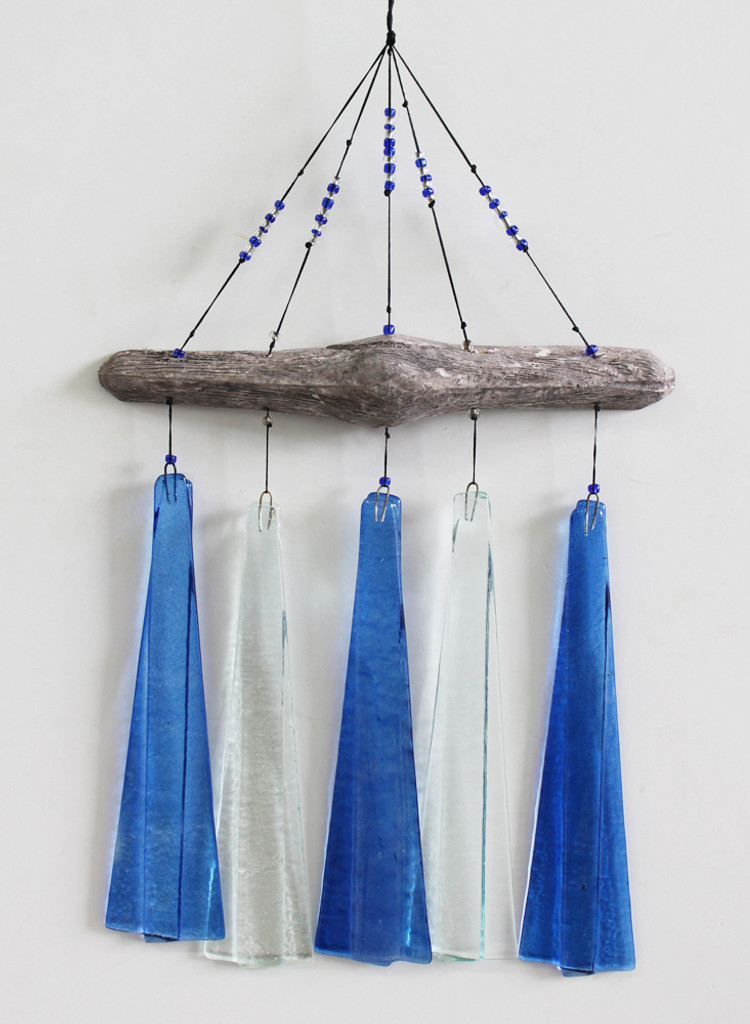 Blue & White Glass & Driftwood Chime