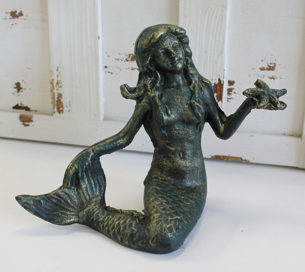 Green Mermaid with Starfish