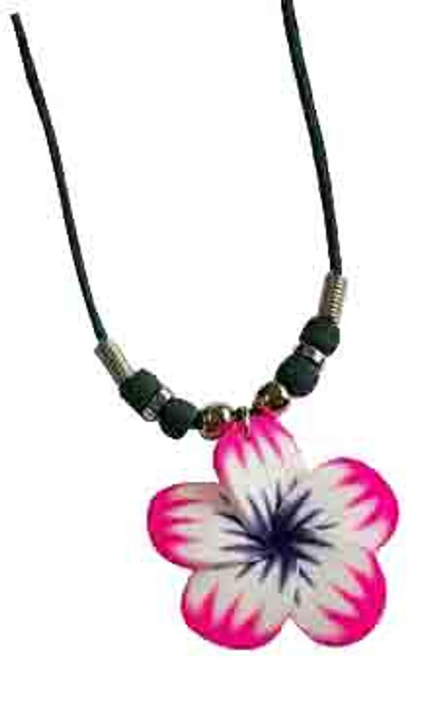 Pink Plumeria Flower Cord Necklace