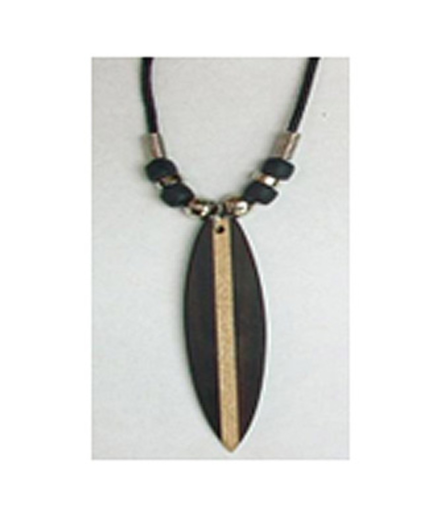 Wood Surfboard Pendant on Cord Necklace