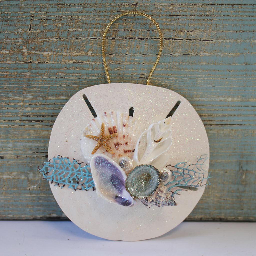 Keyhole Sand Dollar Sea Fan Collage Ornament