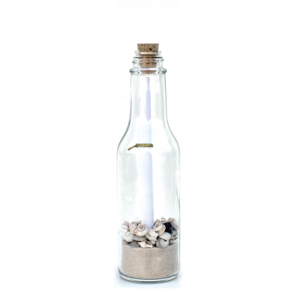 Small White Sand White Shells Message in a Bottle - 1 Dozen