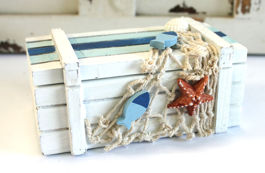White Wood Chest with Fish Net and Starfish