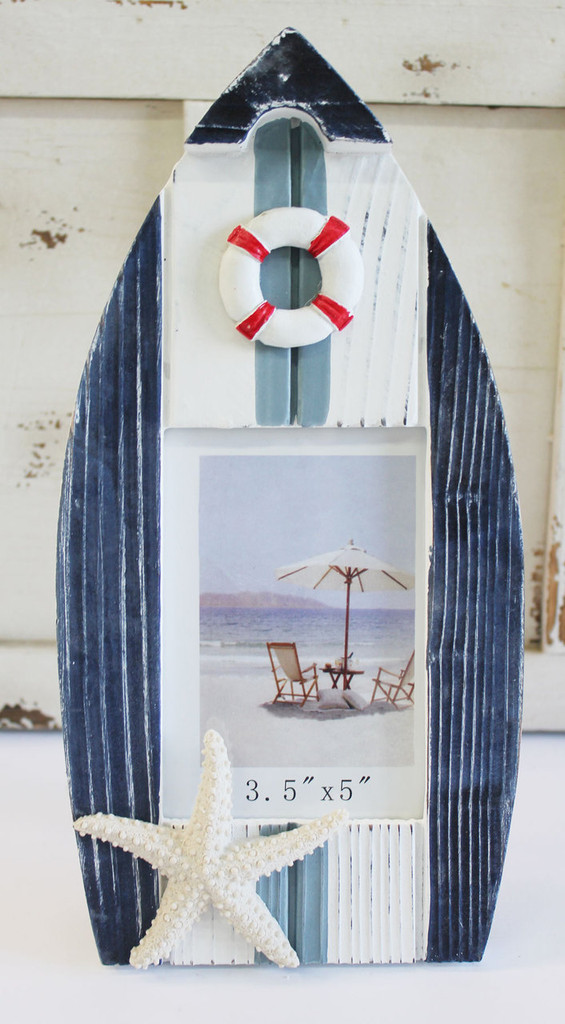 Blue and White Boat Frame