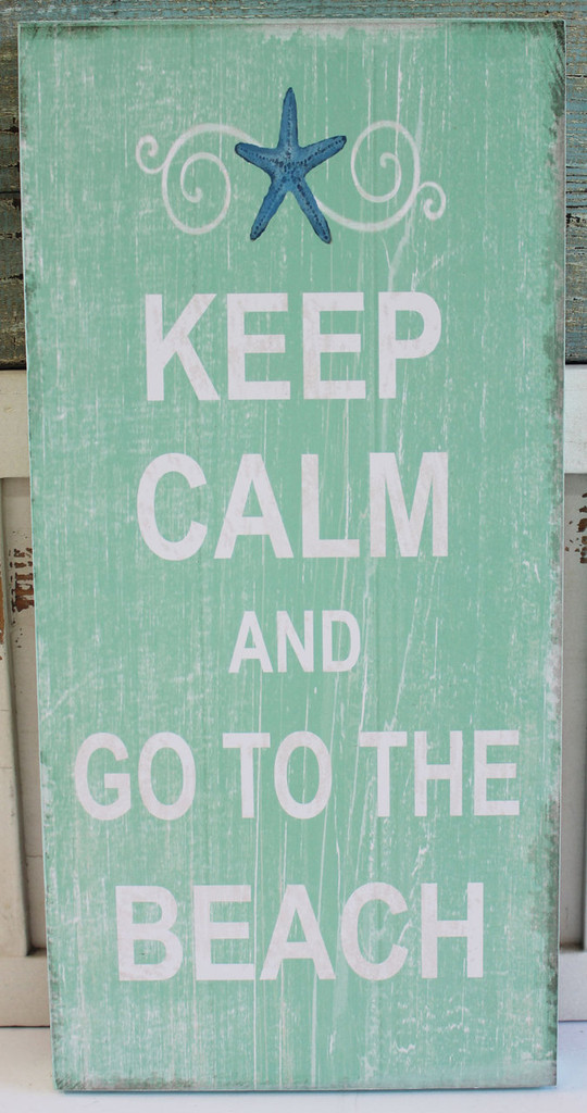 Keep Calm and Go to the Beach Wood Sign