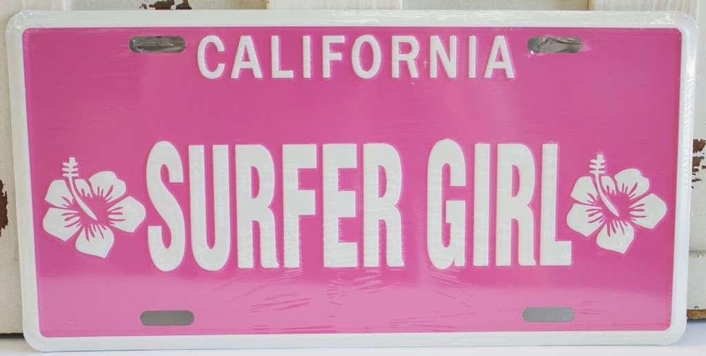 Pink Surfer Girl With Hibiscus License Plate Novelty Sign