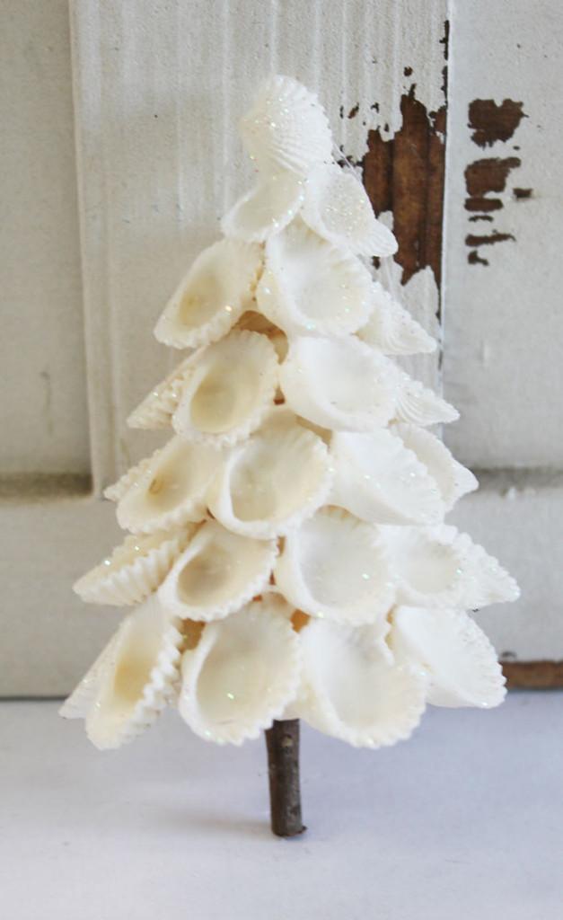 White Christmas Tree Shell Ornament