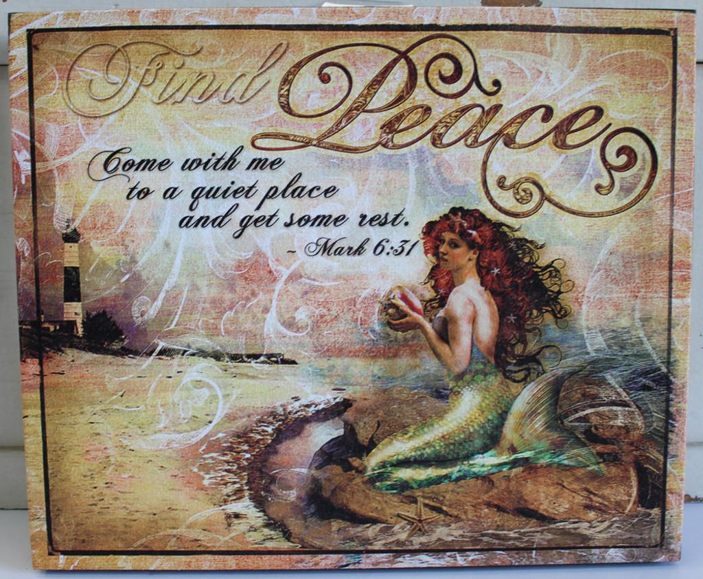 Find Peace Mermaid Canvas