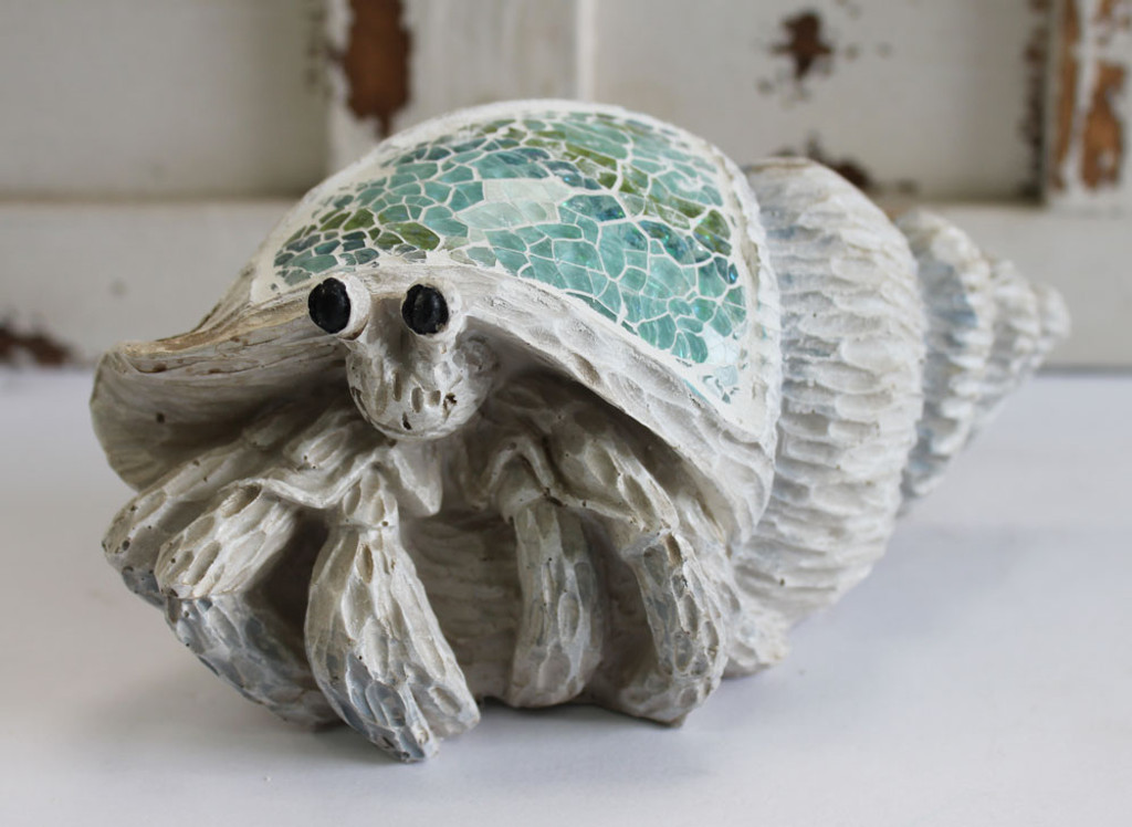 Hermit Crab wood figure with inlaid crushed glass