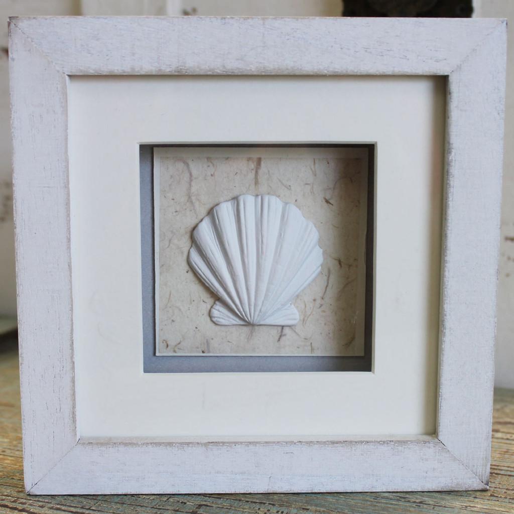 White Clam Shell Shadow Box