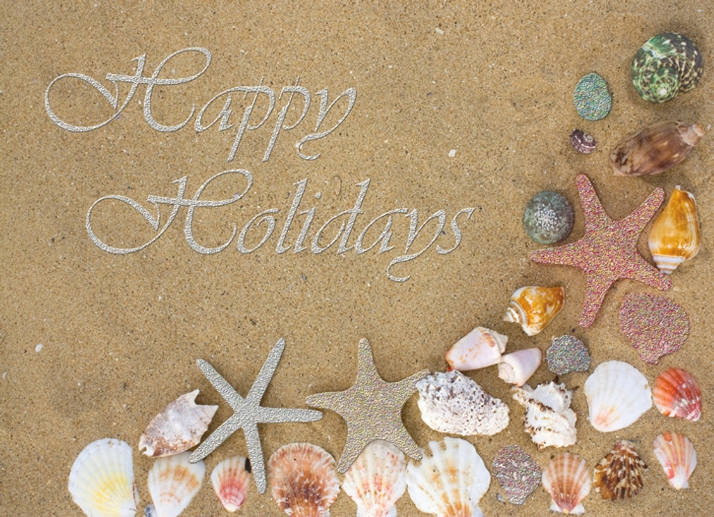Red Starfish Glitter Card