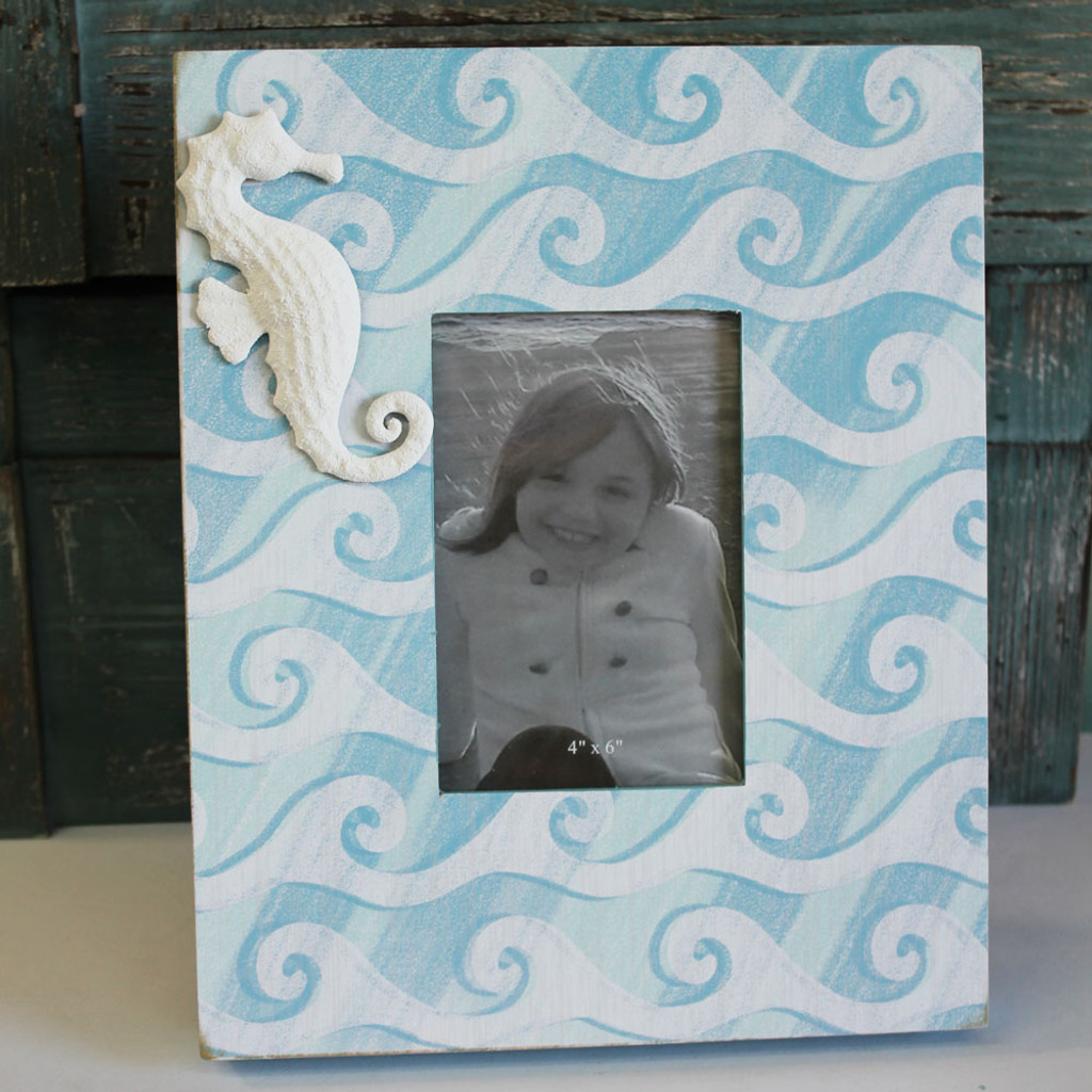 Wood Seahorse Picture Frame