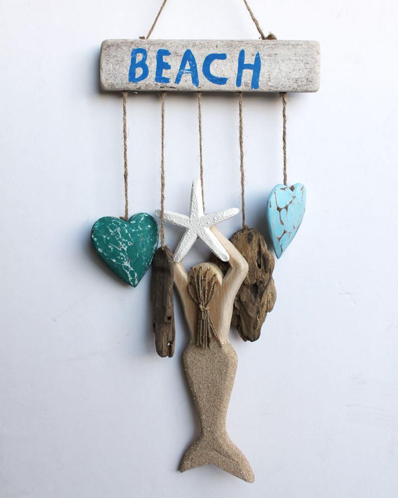 Beach Sign with Mermaid & Hearts