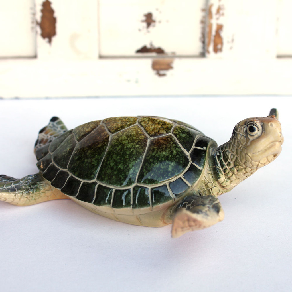 Large Green Resin Turtle Figurine