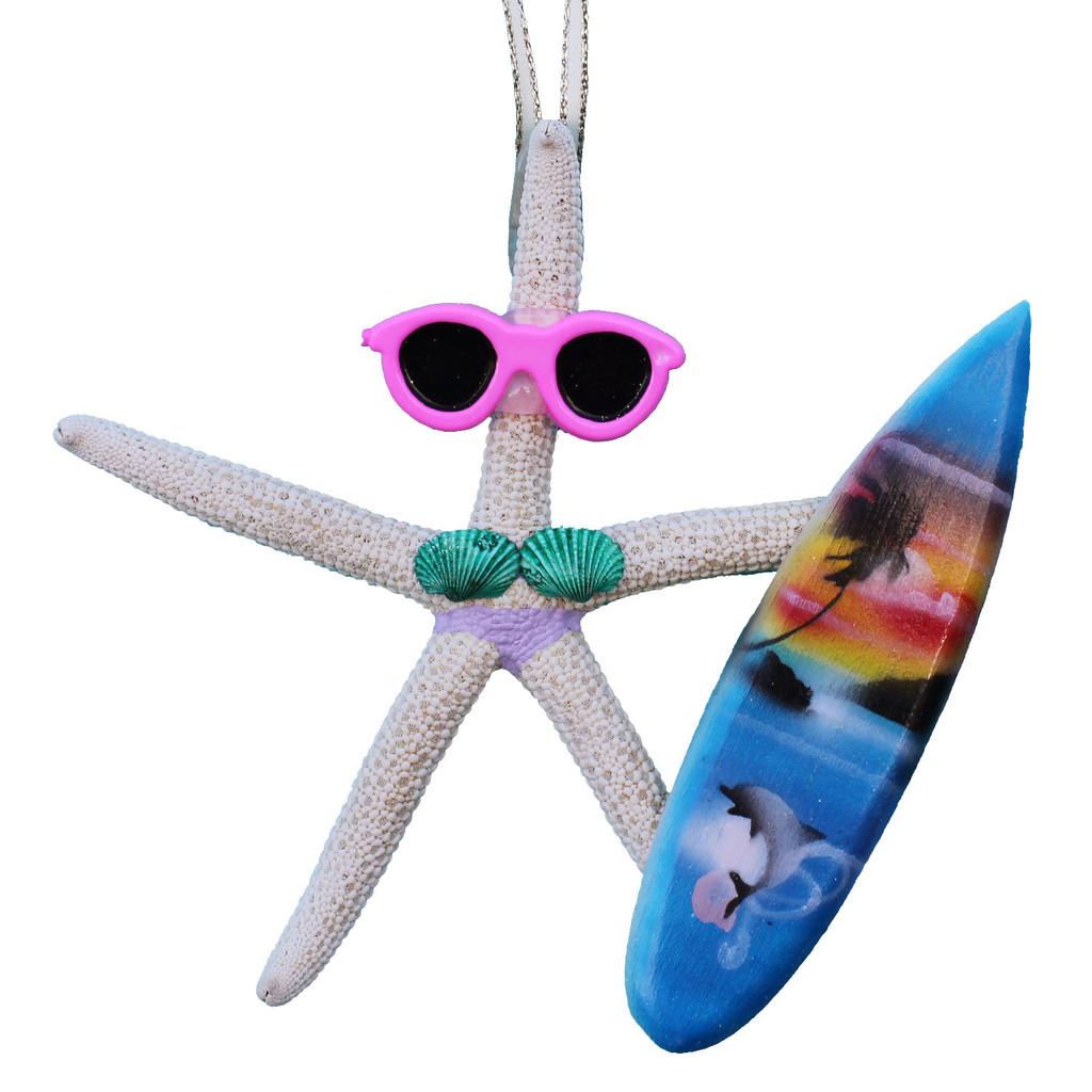 Surfer Girl Starfish Ornament - Purple
