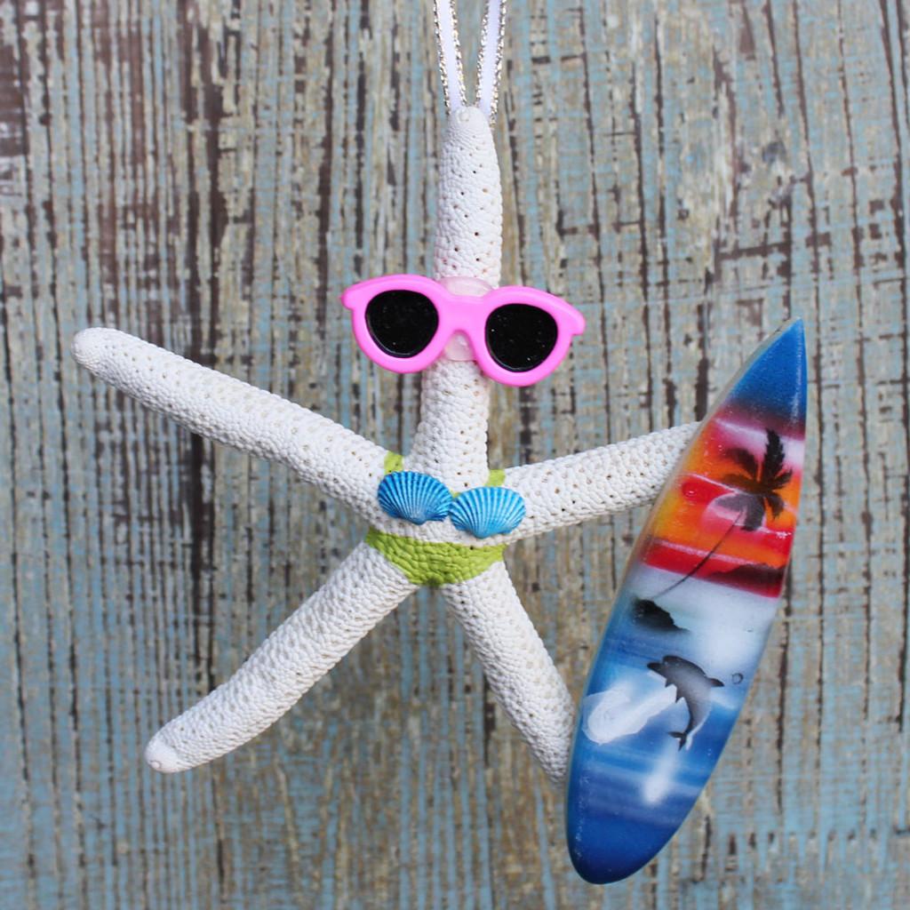 Surfer Girl Starfish Ornament - Green