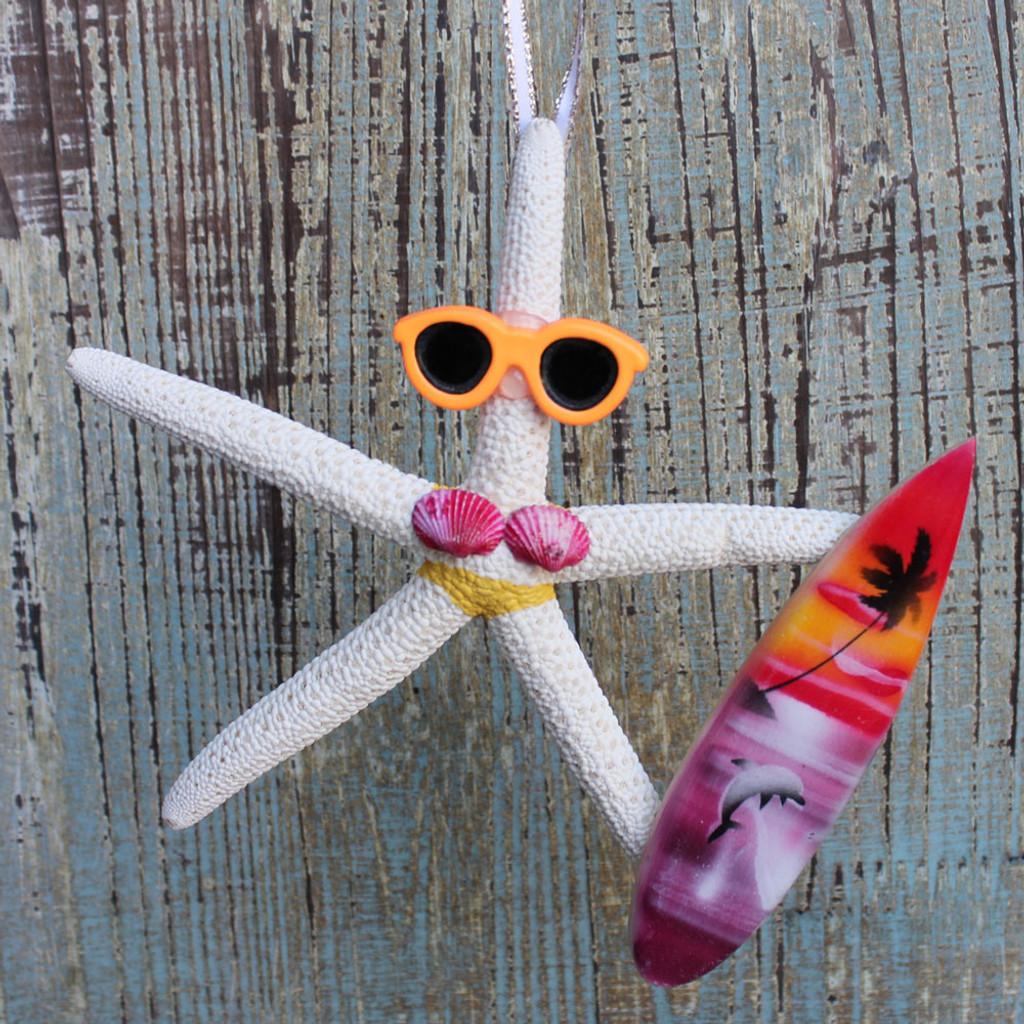 Surfer Girl Starfish Ornament - Yellow