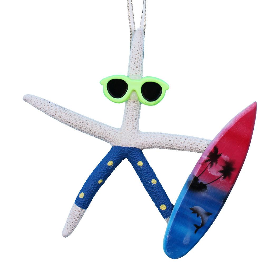 White Finger Starfish Surfer Ornament - Blue