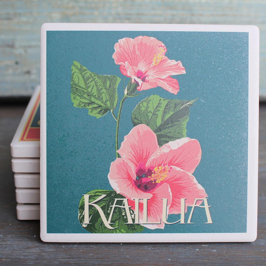 Pink Hibiscus Kailua coaster