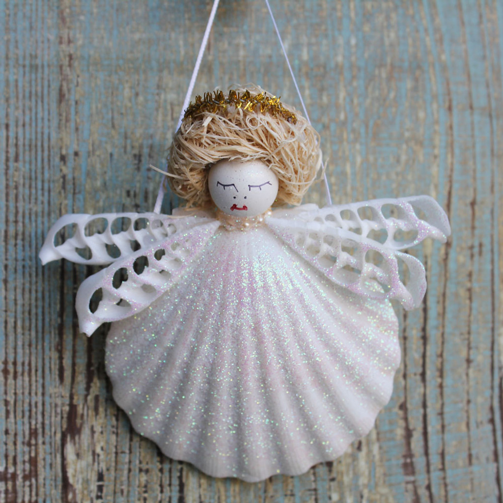 Halo Christmas Ornament.Blonde Halo Shell Angel With Sliced Auger Wings Ornament