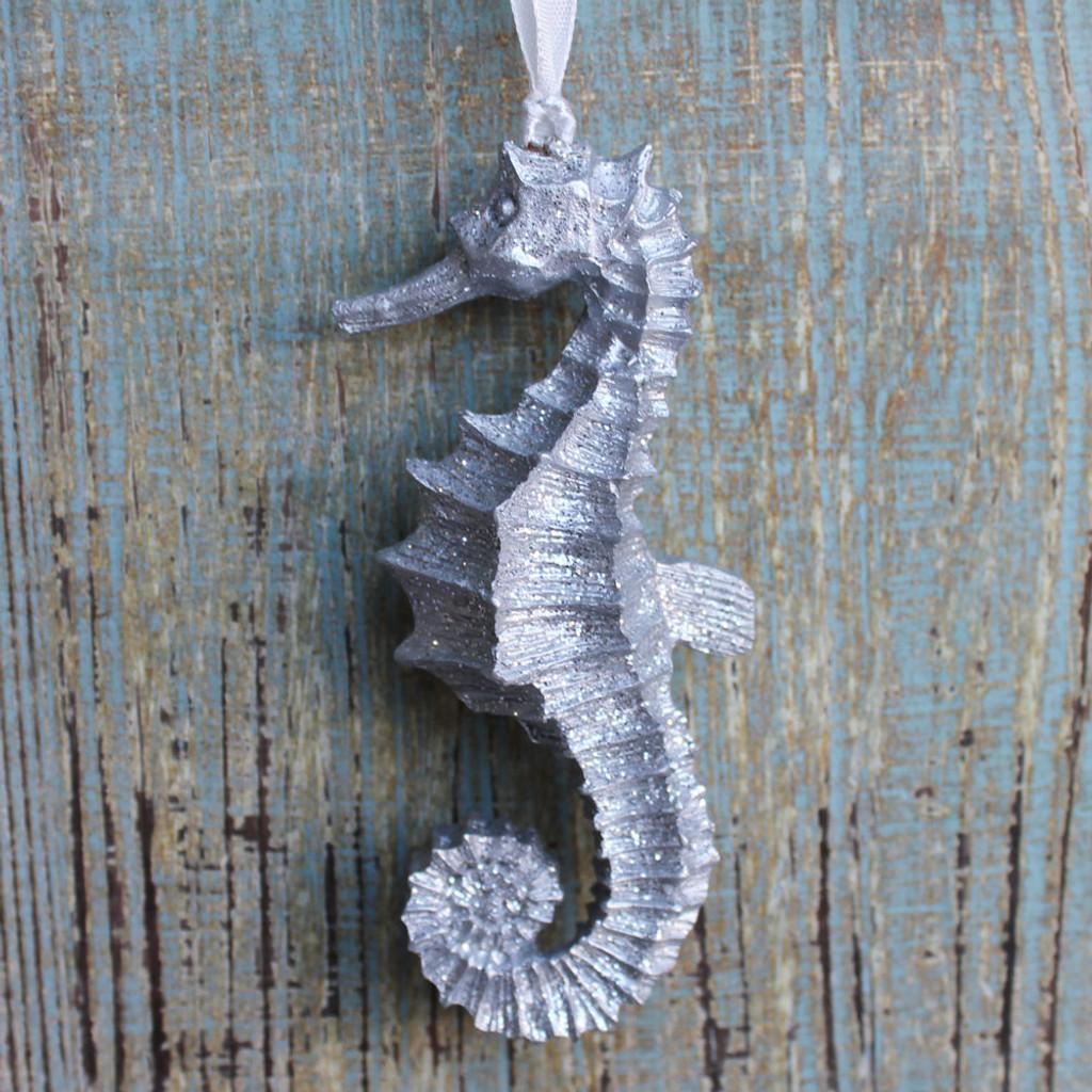 Silver Seahorse Glitter Ornament